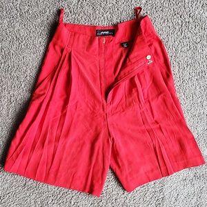 Ellen Tracy Silk High-Waisted Shorts